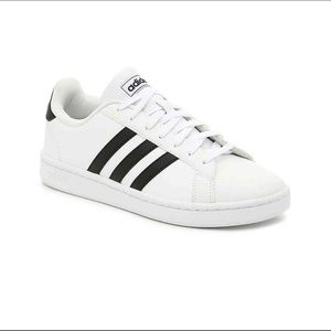 Adidas black and white shoes size 8